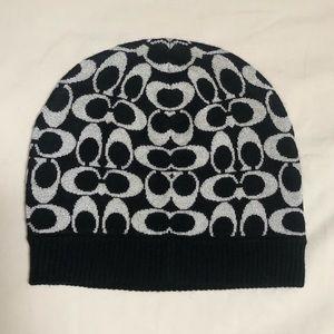 Coach Signature Black and Silver Glittery Hat